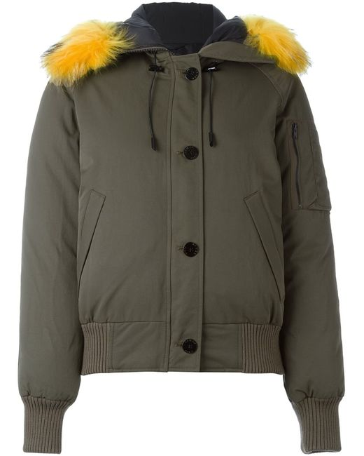 Kenzo | Женское Зелёный Raccoon Fur Trim Puffer Jacket
