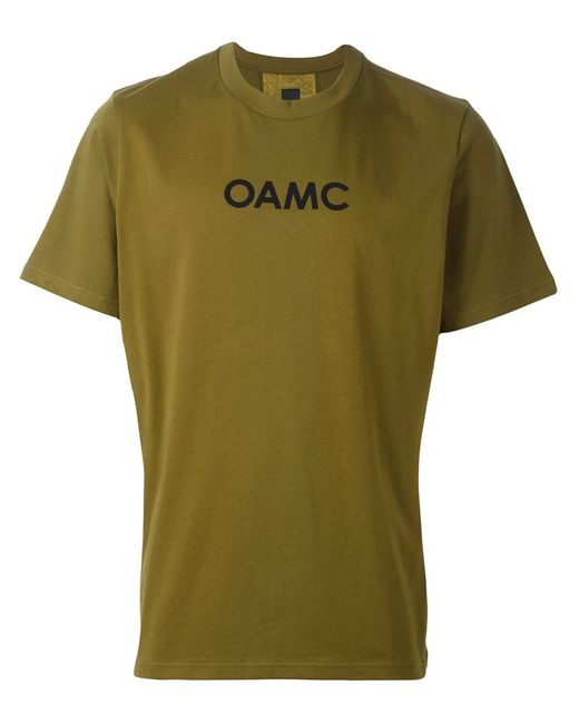 OAMC | Мужская Зелёная Футболка С Контрастной Полосой На Спине