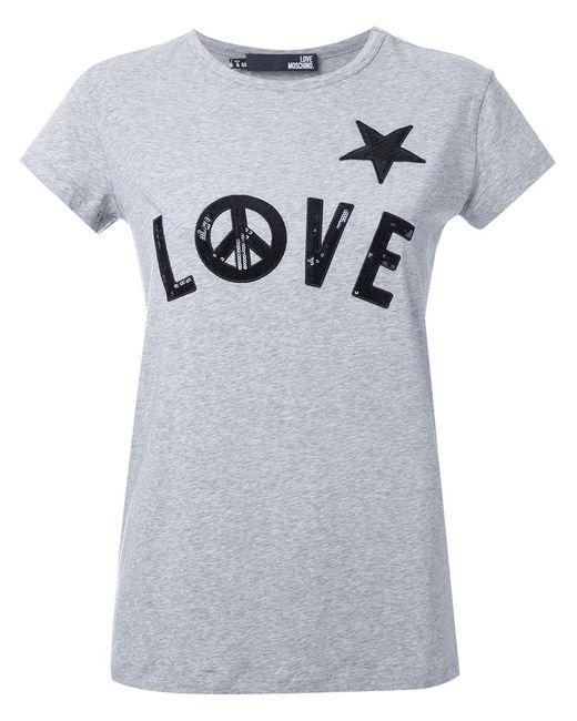 Love Moschino | Женская Серая Декорированная Футболка