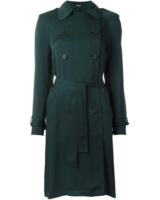 Theory | Женское Зелёное Пальто-Тренч