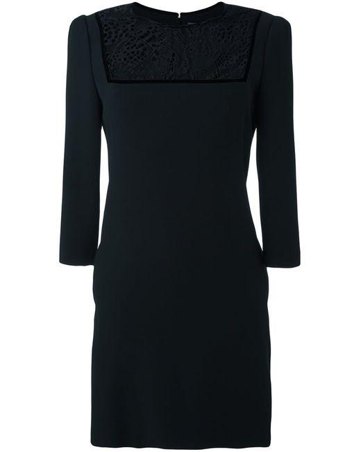 Alexander McQueen | Женское Чёрное Платье С Кружевной Вставкой