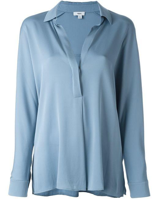 Vince | Женская Синяя Рубашка С Планкой