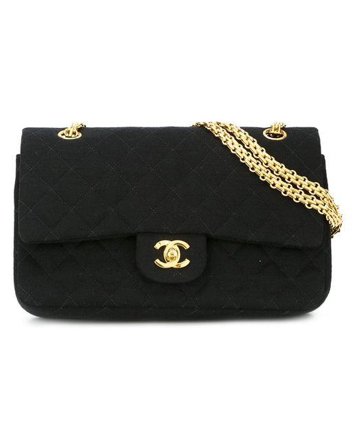 Chanel Vintage   Женская Чёрная Стеганая Сумка На Плечо