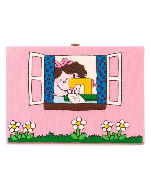 Olympia Le-Tan | Женский Розовый Клатч-Книга С Рисунком