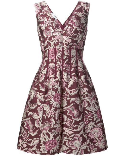 Oscar de la Renta | Женское Красный Pattern Flared Dress