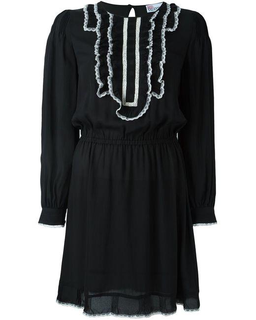 Red Valentino | Женское Чёрное Платье С Контрастными Рюшами