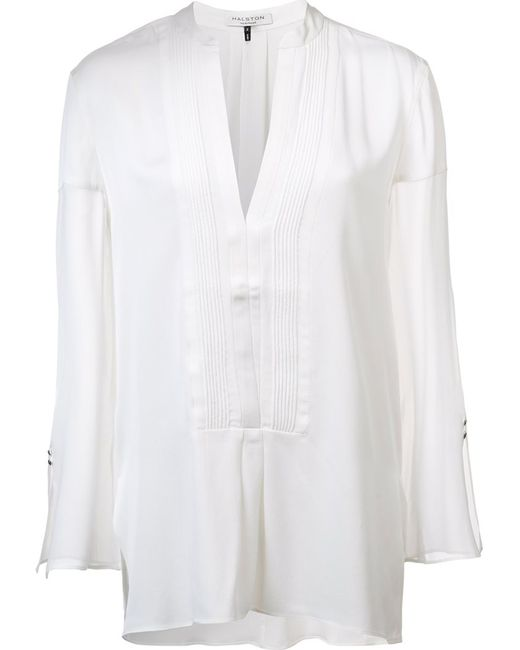 Halston Heritage   Женская Белая Блузка С Нагрудником