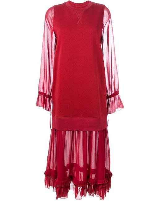 MM6 by Maison Margiela | Женское Красный Mm6 Maison Margiela Sheer Panel Dress