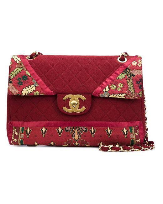 Chanel Vintage | Женская Красная Большая Сумка-Конверт С Цветочным Рисунком