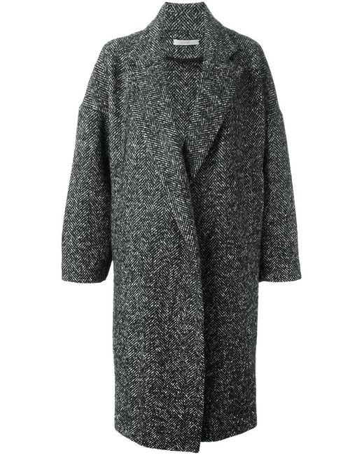 DUSAN   Женское Чёрное Объемное Пальто В Елочку