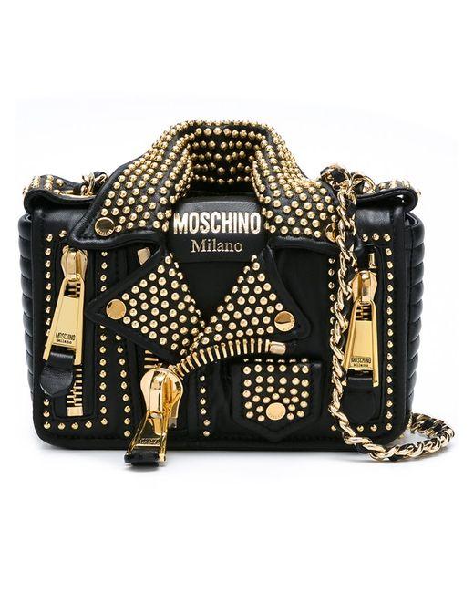 Moschino | Женская Чёрная Байкерская Сумка На Плечо