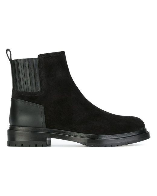 Sergio Rossi | Женские Чёрные Ботинки По Щиколотку С Панельным Дизайном