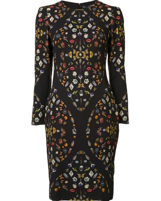 Alexander McQueen   Женское Чёрное Платье С Рисунком Obsession