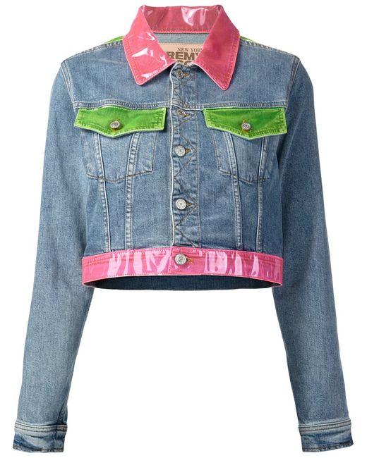 Jeremy Scott | Женская Синяя Укороченная Куртка С Цветной Отделкой