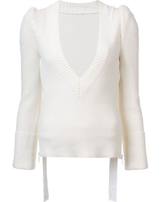 Sacai | Женский Белый Джемпер С V-Образным Вырезом