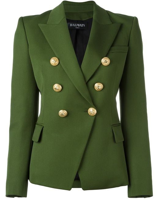 Balmain | Женский Зелёный Двубортный Блейзер
