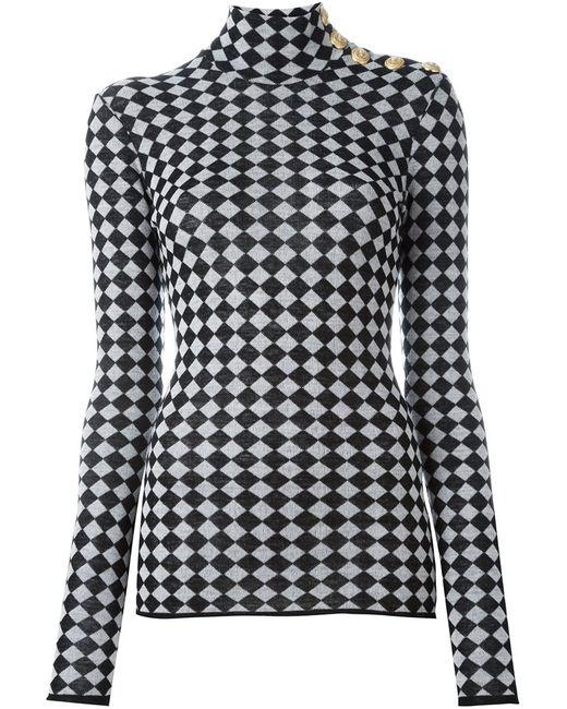Balmain | Женское Чёрный Checkered Pattern Knit Top