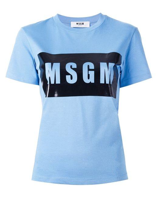MSGM | Женская Синяя Футболка С Логотипом