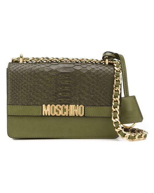 Moschino | Женская Зелёная Сумка Через Плечо На Цепочной Лямке
