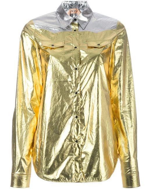 No21   Женская Серебристая Рубашка С Эффектом Металлик