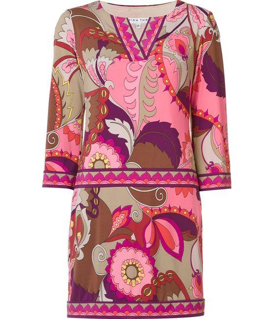 Trina Turk | Женское Розовый Abstract Print Short Dress