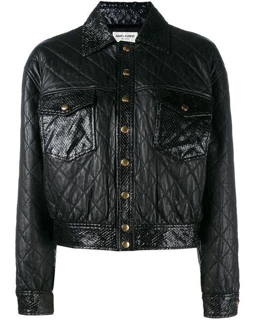 Saint Laurent   Женская Чёрная Укороченная Стеганая Куртка