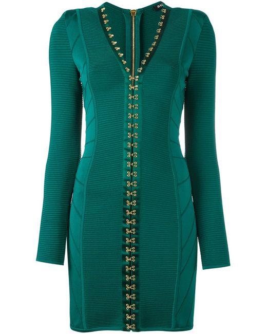 Balmain   Женское Зелёное Облегающее Платье С V-Образным Вырезом