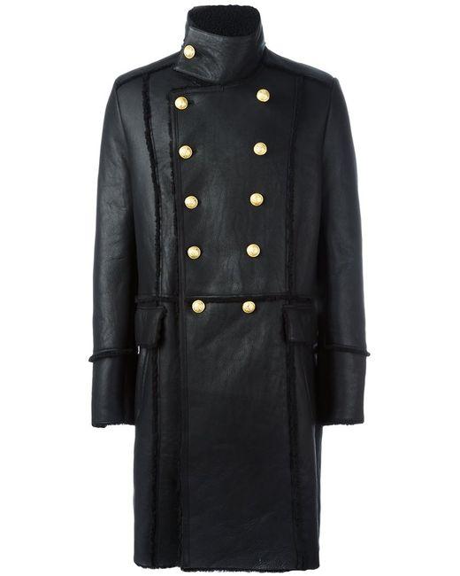 Balmain | Мужское Чёрное Двубортное Пальто Из Овчины