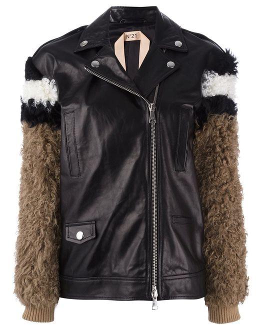 No21 | Женская Чёрная Куртка С Меховыми Рукавами