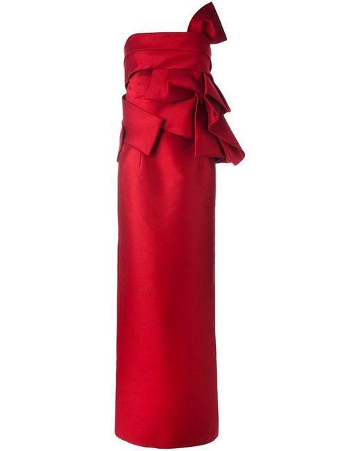 Dsquared2   Женское Красное Вечернее Платье Без Бретелек