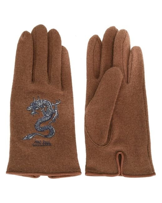 JEAN PAUL GAULTIER VINTAGE   Женское Коричневый Dragon Embroidered Gloves