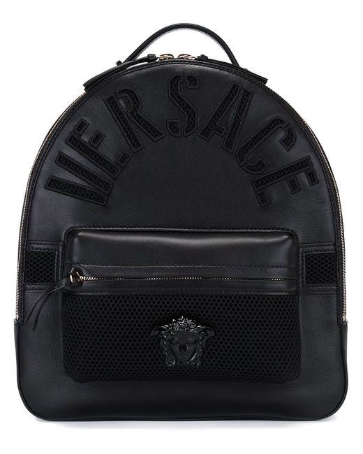 Versace | Женский Чёрный Рюкзак С Тисненым Логотипом