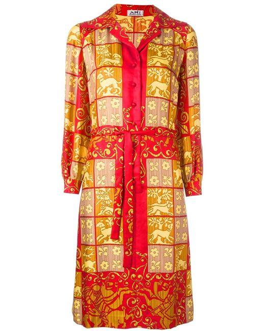 Hermès Vintage | Женское Жёлтое Платье-Рубашка С Барочным Узором