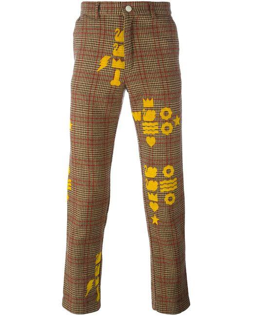 WALTER VAN BEIRENDONCK VINTAGE | Nude & Neutrals Printed Checked Trousers