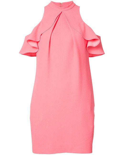 Trina Turk | Женское Розовое Платье Со Спущенными Плечами С Рюшами