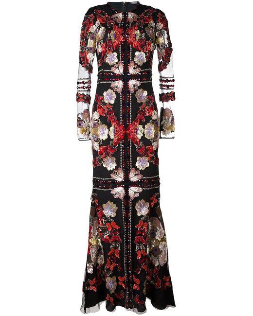 Alexander McQueen | Женское Чёрное Вечернее Платье С Вышивкой