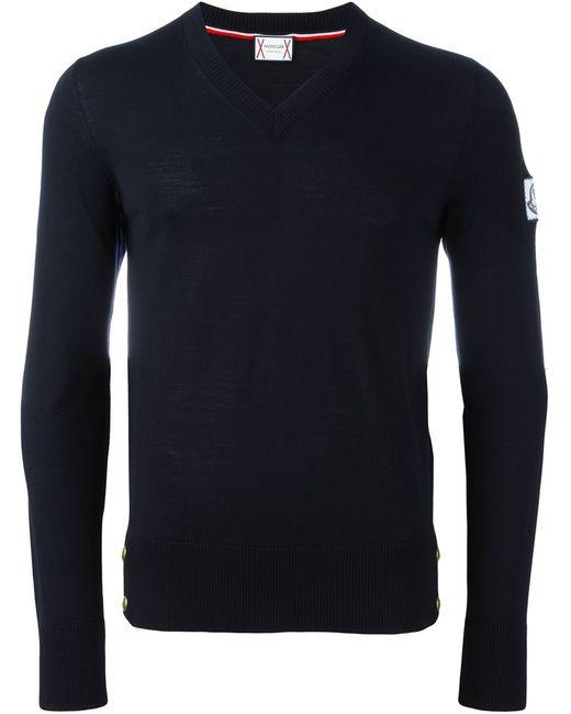 Moncler Gamme Bleu | Мужской Синий Джемпер С V-Образным Вырезом