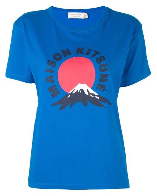 Maison Kitsune | Женская Синяя Футболка Mont Fuji