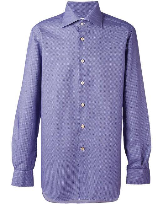 Kiton | Мужское Синий Houndstooth Print Shirt