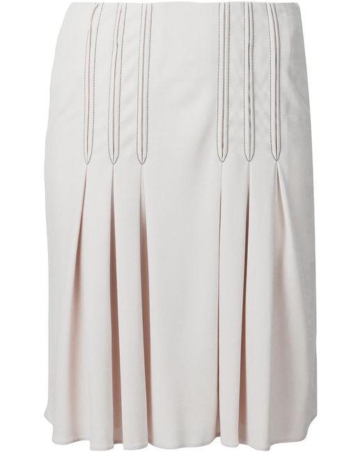 Atlein   Женское Nude & Neutrals Contrast Stitching Pleated Skirt