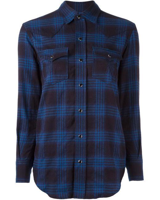 Saint Laurent | Женское Синий Checked Western Shirt