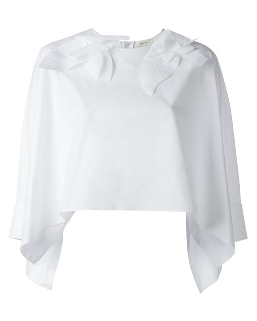 Delpozo | Женская Белая Укороченная Блузка