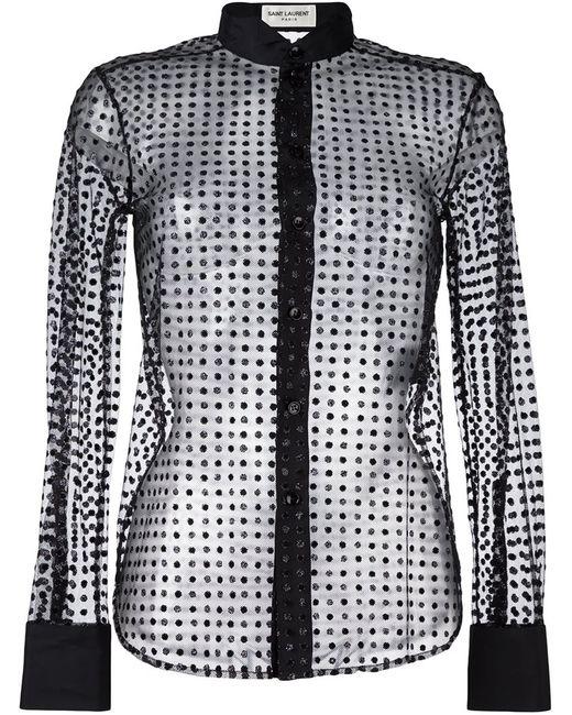 Saint Laurent   Женская Чёрная Тюлевая Рубашка С Узором В Горох