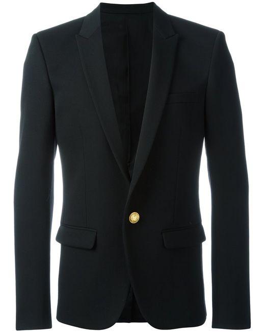Balmain | Мужской Чёрный Пиджак На Одну Пуговицу