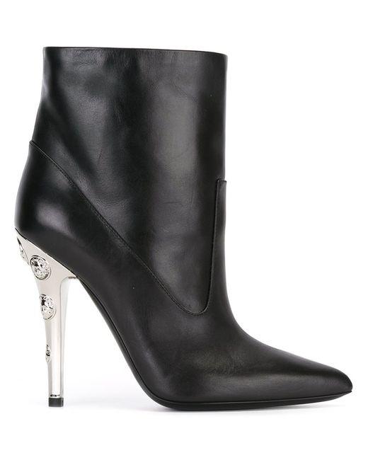 Versus | Женские Чёрные Ботинки С Заклепками На Каблуке
