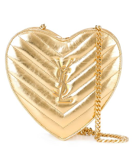 Saint Laurent   Серебристая Маленькая Сумка Love Heart