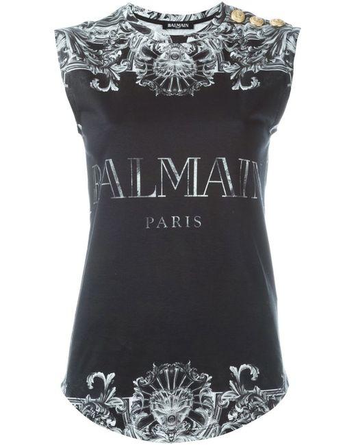 Balmain | Женское Чёрный Baroque Logo Tank Top