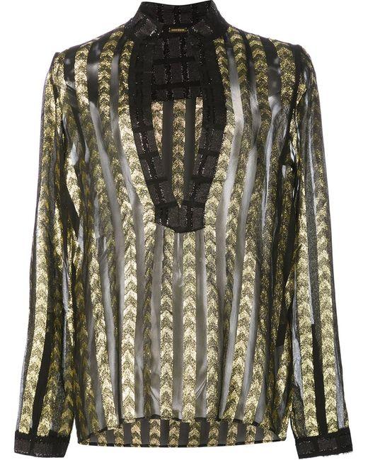 DODO BAR OR | Женская Чёрная Полупрозрачная Блузка С Глубоким Вырезом