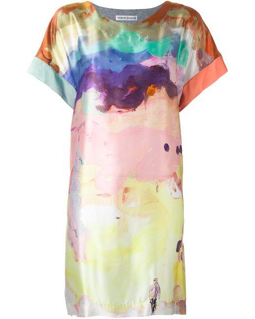 Tsumori Chisato   Женское Серое Платье С Акварельным Рисунком