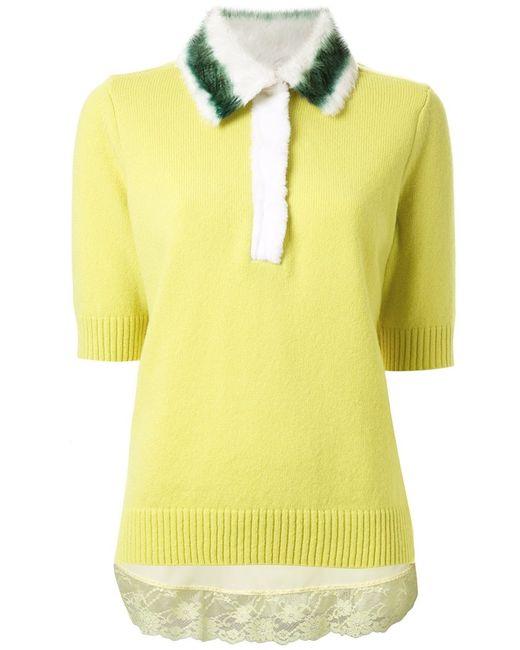 Muveil | Женская Жёлтая Трикотажная Блузка С Украшениями На Воротнике